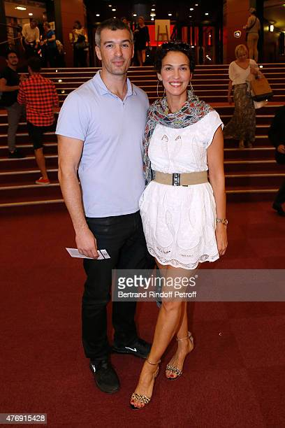 Model Samuel de Cubber and Actress Linda Hardy attend Humorist Berangere Krief Performs at L'Olympia on June 12 2015 in Paris France