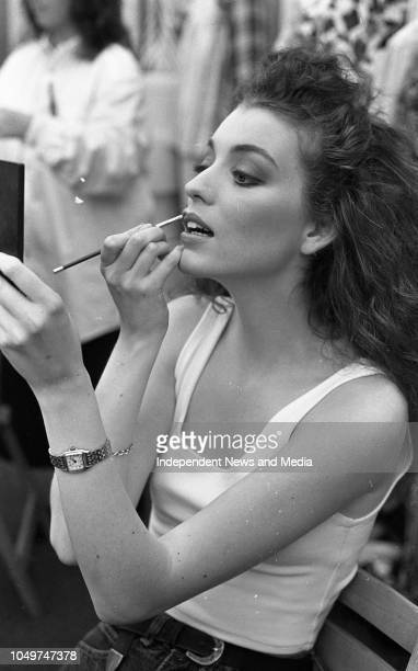 Model Sandra Curley, getting ready for the Fashion Show at Bailey's Irish Open in Fitzwilliam Lawn Tennis Club, . .