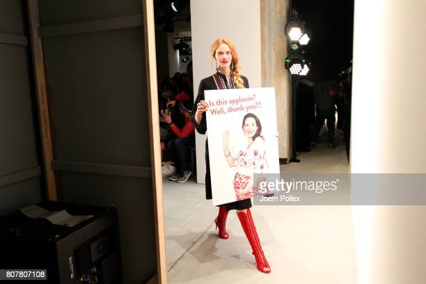 Model Sandra Hunke is seen backstage ahead of the Ewa Herzog show during the MercedesBenz Fashion Week Berlin Spring/Summer 2018 at Kaufhaus Jandorf...