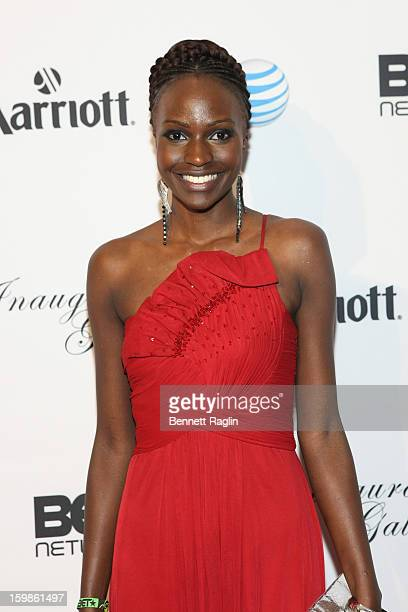 Model Sandra Nyanchoka attends the Inaugural Ball hosted by BET Networks at Smithsonian American Art Museum National Portrait Gallery on January 21...