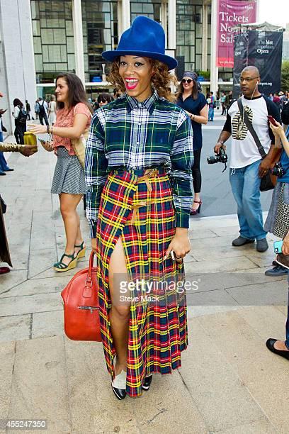 Model Sankara XT is seen around Lincoln Center wearing a Vivienne Westwood hat Ralph Lauren top vintage skirt and purse on September 10 2014 in New...