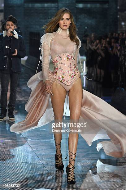 Model Sanne Vloet from The Netherlands walks the runway during the 2015 Victoria's Secret Fashion Show at Lexington Avenue Armory on November 10 2015...