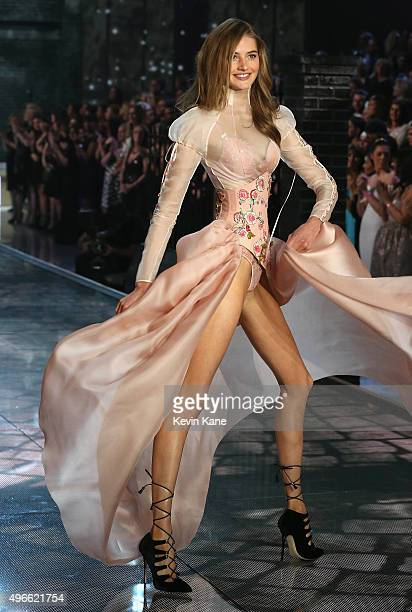 Model Sanne Vloet from The Netherlands walks the runway during the 2015 Victoria's Secret Fashion Show at Lexington Armory on November 10 2015 in New...