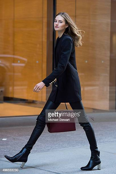 Model Sanne Vloet is seen in Midtown on November 8 2015 in New York City