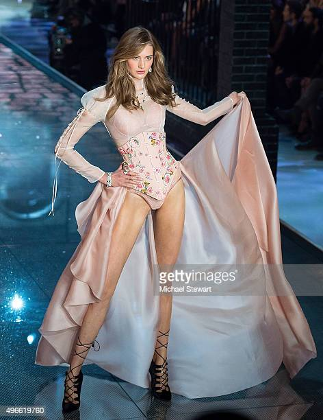 Model Sanne Vloet walks the runway during the 2015 Victoria's Secret Fashion Show at the Lexington Armory on November 10 2015 in New York City