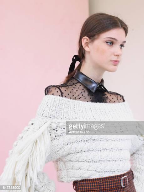 Model Sara Dijkink is seen backstage ahead of the Philosophy di Lorenzo Serafini show during Milan Fashion Week Fall/Winter 2017/18 on February 25...