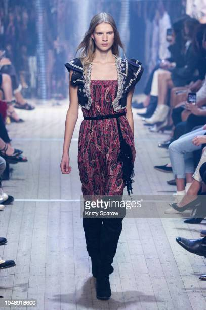 Model Sara Eirud walks the runway during the Isabel Marant show as part of Paris Fashion Week Womenswear Spring/Summer 2019 on September 27 2018 in...