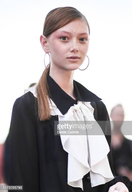 Model Sara Grace Wallerstedt is seen outside the Jason Wu show during New York Fashion Week S/S20 on September 08, 2019 in New York City.