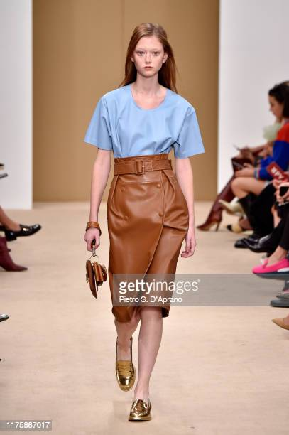 Model Sara Grace Wallerstedt walks the runway at the Tod's show during the Milan Fashion Week Spring/Summer 2020 on September 20, 2019 in Milan,...