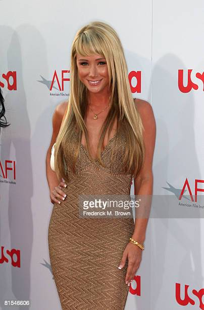 Model Sara Jean Underwood arrives at the 36th AFI Life Achievement Award tribute to Warren Beatty held at the Kodak Theatre on June 11 2008 in...