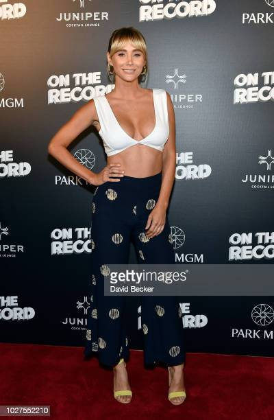 Model Sara Jean Underwood attends Queen Adam Lambert PostShow VIP reception at Juniper Cocktail Lounge presented by On The Record at Park MGM on...