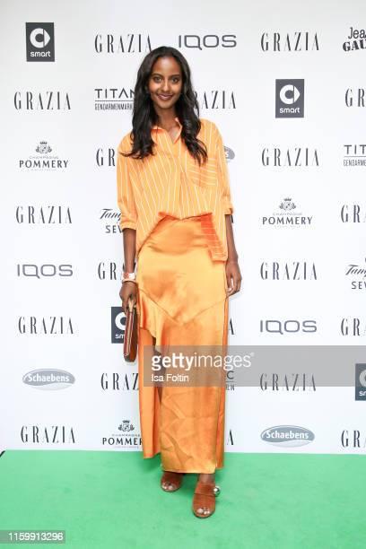 Model Sara Nuru during the Grazia Fashion Night at Titanic Hotel on July 3, 2019 in Berlin, Germany.