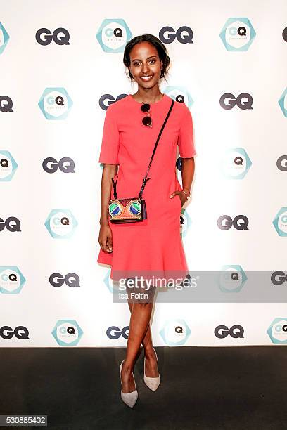 Model Sara Nuru wearing a dress by L K Bennett and a handbag by MCM attends the GQ Care Award 2016 at The Grand on May 11 2016 in Berlin Germany
