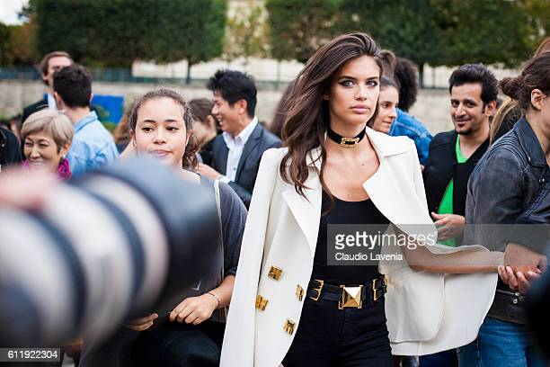 Model Sara Sampaio after the Elie Saab show on day 5 of Paris Womens Fashion Week Spring/Summer 2017 on October 1 2016 in Paris France