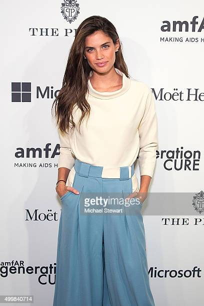 Model Sara Sampaio attends the 2015 amfAR generationCURE Holiday Party at the Oak Room on December 3 2015 in New York City