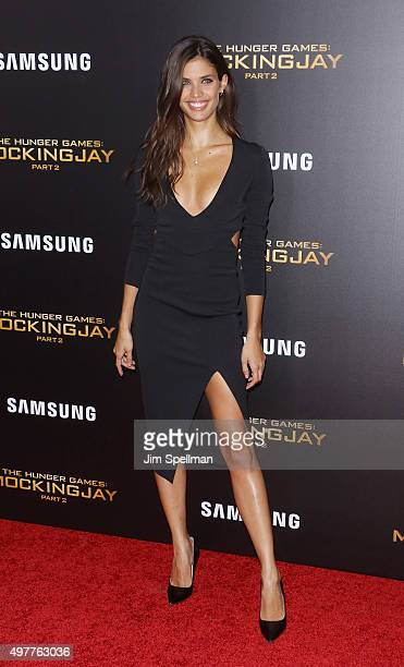 Model Sara Sampaio attends the 'The Hunger Games Mockingjay Part 2' New York premiere at AMC Loews Lincoln Square 13 theater on November 18 2015 in...