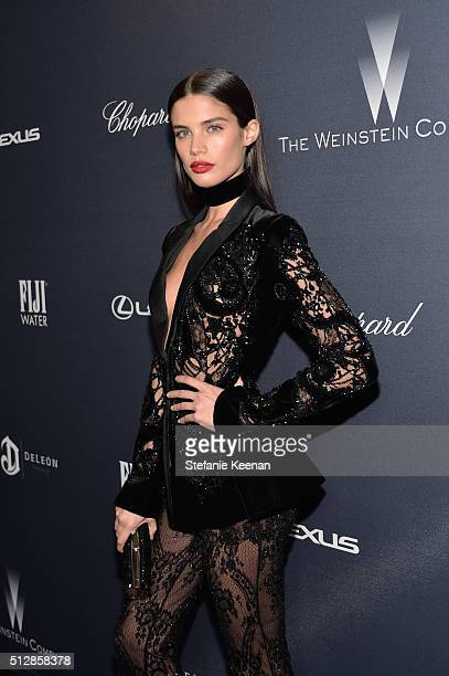 Model Sara Sampaio attends The Weinstein Company's PreOscar Dinner presented in partnership with FIJI Water Chopard DeLeon and Lexus at the Montage...