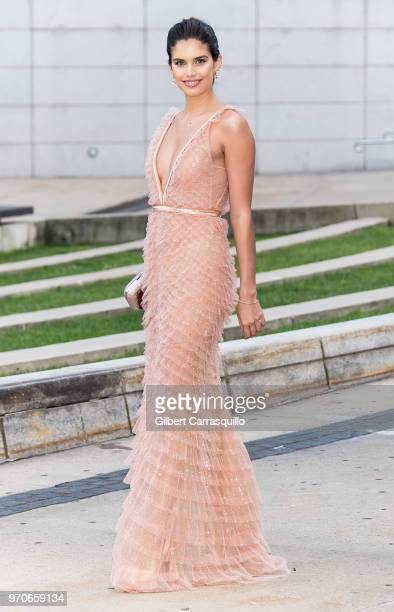 Model Sara Sampaio is seen arriving to the 2018 CFDA Fashion Awards at Brooklyn Museum on June 4 2018 in New York City