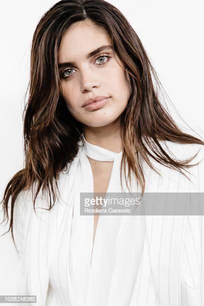 Model Sara Sampaio is seen backstage ahead of the Philosophy Di Lorenzo Serafini show during Milan Fashion Week Spring/Summer 2019 on September 22...