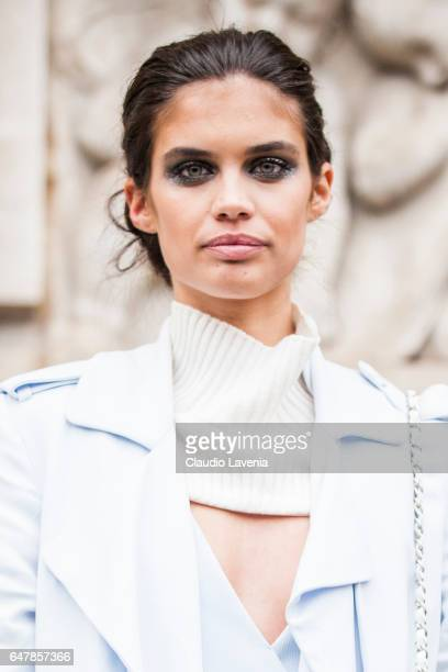 Model Sara Sampaio is seen in the streets of Paris after the Elie Saab show during Paris Fashion Week Womenswear Fall/Winter 2017/2018 on March 4...