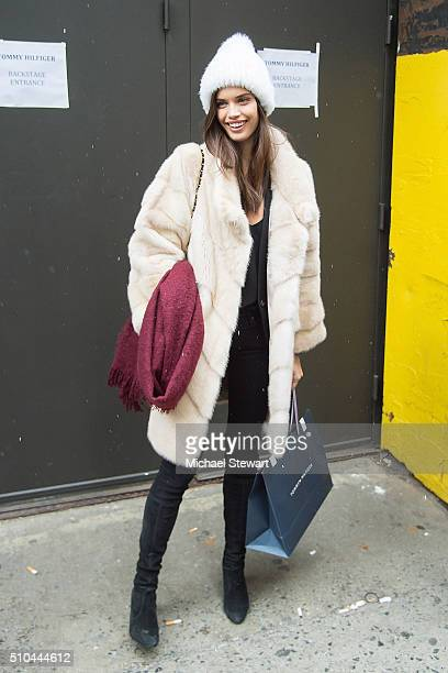 Model Sara Sampaio is seen leaving the Tommy Hilfiger fahsion show during Fall 2016 New York Fashion Week on February 15 2016 in New York City