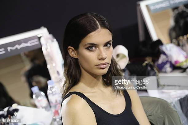 Model Sara Sampaio poses backstage prior the Elie Saab show as part of the Paris Fashion Week Womenswear Spring/Summer 2017 on October 1 2016 in...