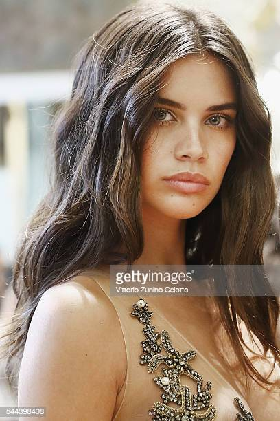 Model Sara Sampaio poses backstage prior to the Alberta Ferretti Limited Edition Fall/Winter 20162017 show as part of Paris Fashion Week on July 3...