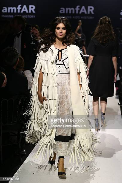 Model Sara Sampaio walks during the fashion show runway during amfAR's 22nd Cinema Against AIDS Gala Presented By Bold Films And Harry Winston at...
