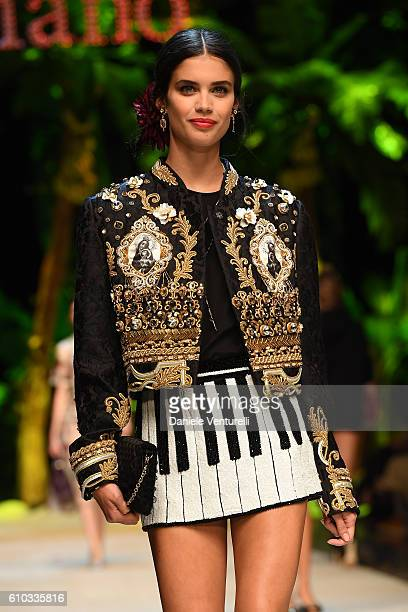 A model Sara Sampaio walks the runway at the Dolce And Gabbana show during Milan Fashion Week Spring/Summer 2017 on September 25 2016 in Milan Italy