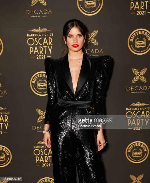 Model Sara Sampio attends Darren Dzienciol & Richie Akiva's Oscar Party 2021 on April 25, 2021 in Bel Air, California.