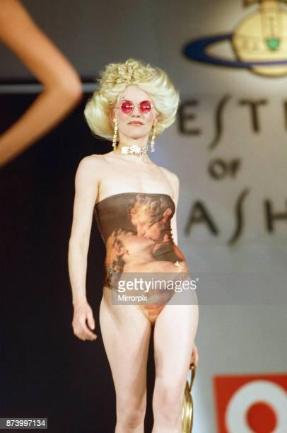 Model Sara Stockbridge pictured on the catwalk during Vivienne Westwood fashion show at London Fashion Week 30th April 1993