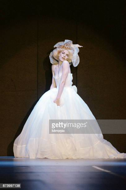 Model Sara Stockbridge pictured on the catwalk during Vivienne Westwood fashion show at London Fashion Week 30th April 1993