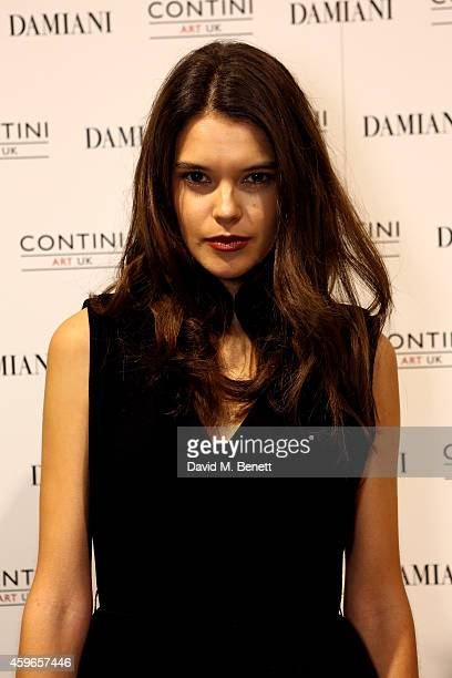 Model Sarah Ann Macklin attends Dancing Away photographic exhibition by Mikhail Baryshnikov at ContiniArtUK co hosted by Damiani on November 27 2014...