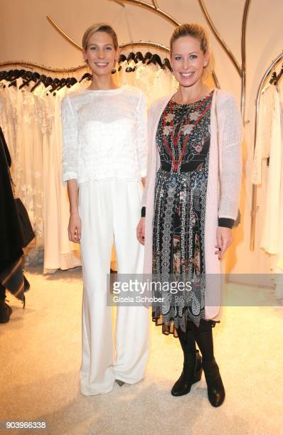 Model Sarah Brandner and Carina Gomez wife of Mario Gomez pregnant during the opening of the Kaviar Gauche Bridal Concept Store on January 11 2018 in...
