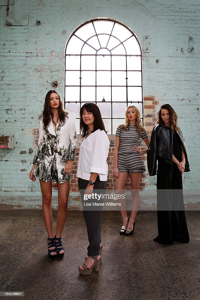 Model Sarah Burns, Designer Lisa Ho, Model Chelsea Trotter and Designer Kym Ellery pose at Carriageworks on October 17, 2012 in Sydney, Australia. IMG today announced Carriageworks as the new host venue of Mercedes-Benz Fashion Week Australia.