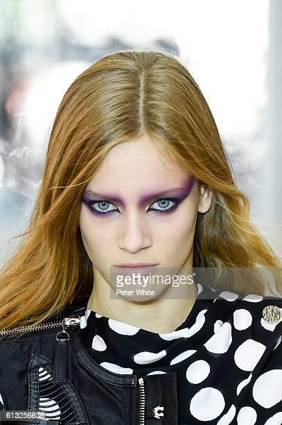 Model Sarah Dahl beauty runway detail walks the runway during the Louis Vuitton show as part of the Paris Fashion Week Womenswear Spring/Summer 2017...