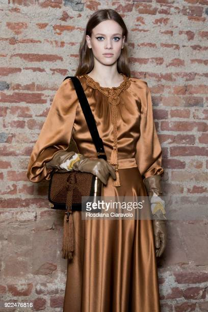 Model Sarah Dahl is seen backstage ahead of the Alberta Ferretti show during Milan Fashion Week Fall/Winter 2018/19 on February 21 2018 in Milan Italy