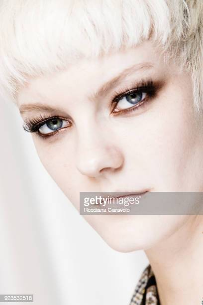 Model Sarah Fraser is seen backstage ahead of the Etro show during Milan Fashion Week Fall/Winter 2018/19 on February 23 2018 in Milan Italy