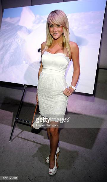 Model Sarah Jean Underwood attends Nigel Barker and The HSUS A Sealed Fate Photography Exhibition on May 13 2009 at the Zune LA Gallery in Beverly...