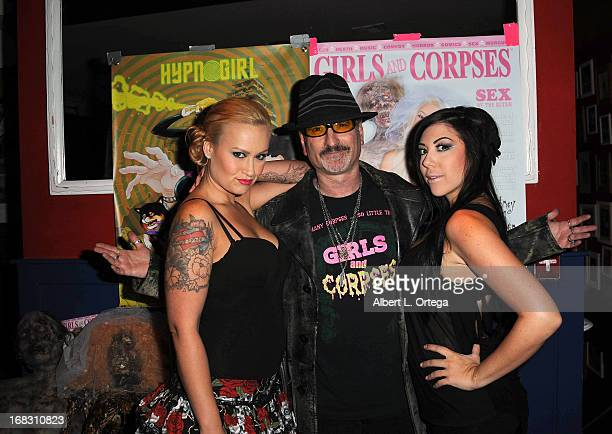 Model Sarah Morales publisher Robert Rhine and model Chrissy Cipris attend The Girls and Corpses spring issue premiere party and hypnosis show held...