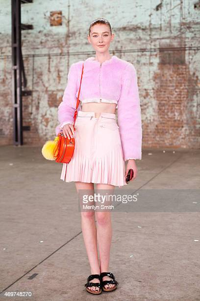 Model Sarah Pauley wears Elliot Ward Fear top and skirt Birkenstock sandals and Marc Jacobs bag at MercedesBenz Fashion Week Australia 2015 at...