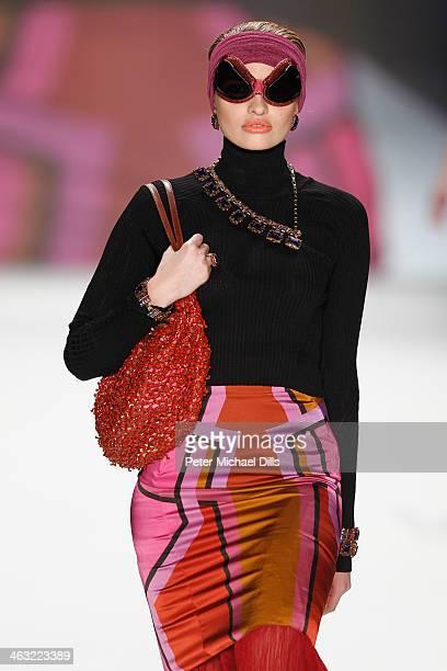 Model Sarina Nowak walks the runway at the Miranda Konstantinidou show during MercedesBenz Fashion Week Autumn/Winter 2014/15 at Brandenburg Gate on...