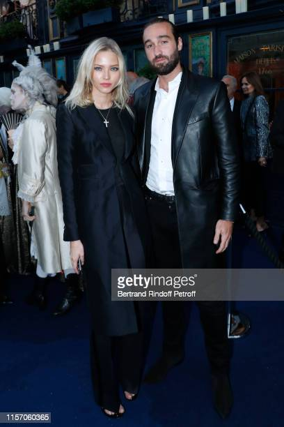 Model Sasha Luss and Jasper Pfrunder attend the Laperouse Mask Ball on the occasion of the inauguration evening of the Laperouse Restaurant as part...
