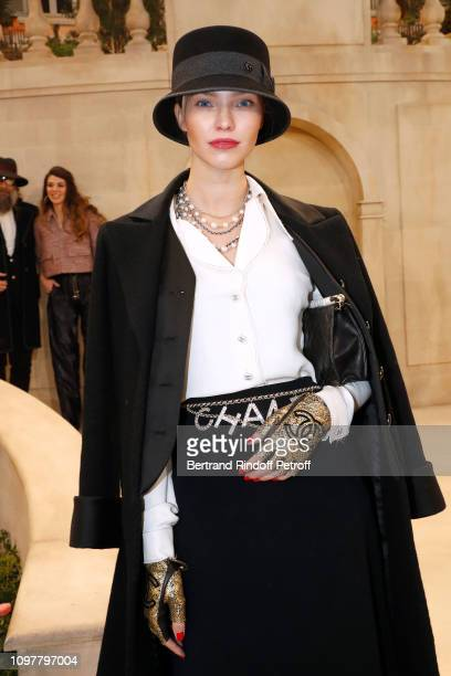 Model Sasha Luss attends the Chanel Haute Couture Spring Summer 2019 show as part of Paris Fashion Week on January 22, 2019 in Paris, France.
