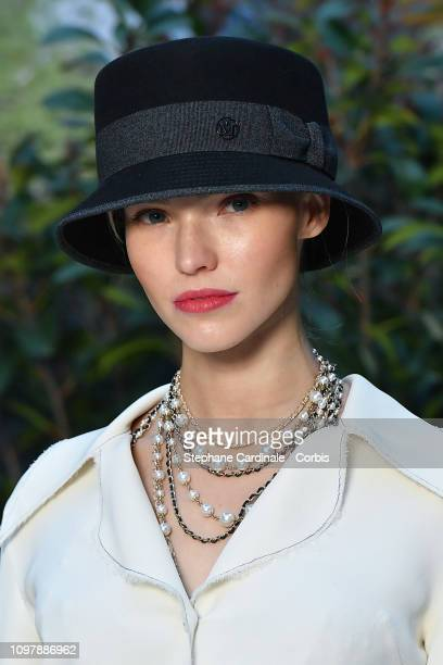 Model Sasha Luss attends the Chanel Haute Couture Spring Summer 2019 show as part of Paris Fashion Week on January 22 2019 in Paris France
