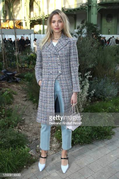 Model Sasha Luss attends the Chanel Haute Couture Spring/Summer 2020 show as part of Paris Fashion Week on January 21, 2020 in Paris, France.