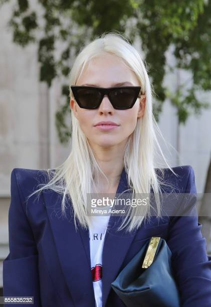 Model Sasha Luss attends the Mugler show as part of the Paris Fashion Week Womenswear Spring/Summer 2018 on September 30 2017 in Paris France