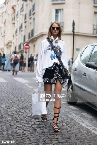 Model Sasha Luss outside the Balmain show on June 24 2017 in Paris France