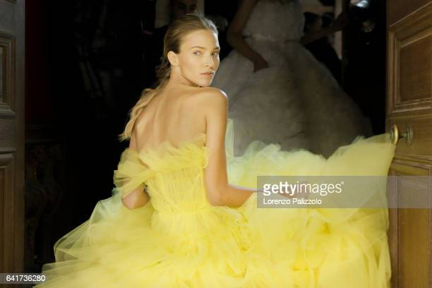 Model Sasha Luss poses Backstage prior the Giambattista Valli Spring Summer 2017 show as part of Paris Fashion Week on January 23 2017 in Paris France