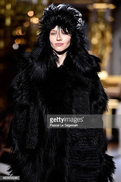Model Sasha Luss walks the runway during the Stella McCartney show as part of the Paris Fashion Week Womenswear Fall/Winter 2015/2016 on March 9 2015...